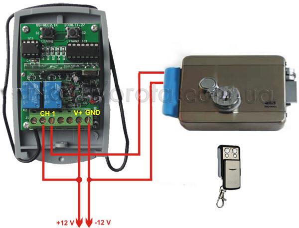 Схема подключения электрозамка к приемнику Professional