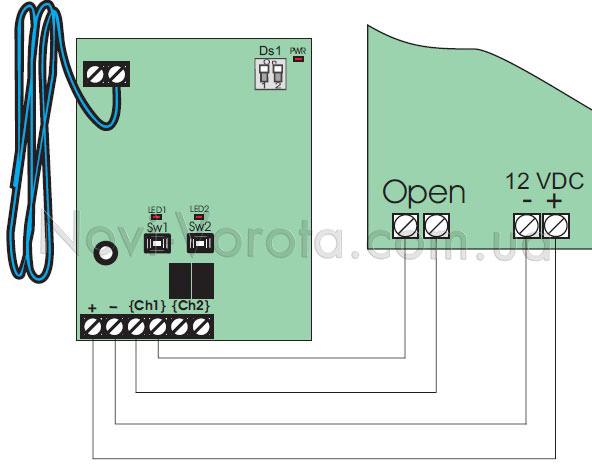 Схема подключения внешнего приемника FAAC XR2-868