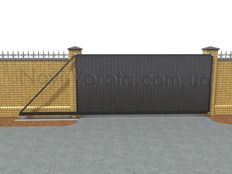 Общий вид откатных ворот