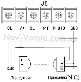Схема подключения фотоэлементов шлагбаум к плате управления
