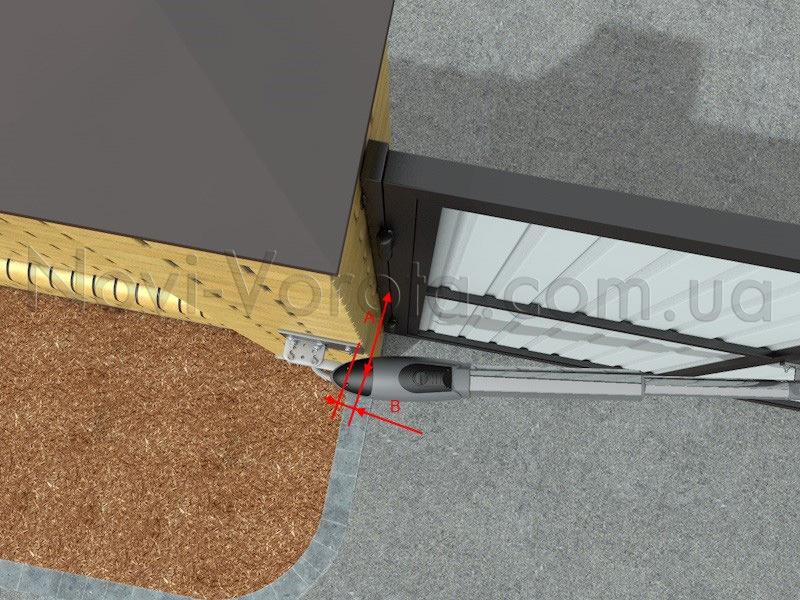 Схема установки привода для открывания во внутрь.