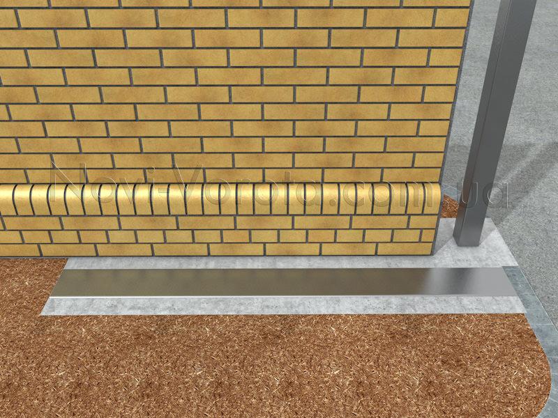 Забетонированные швеллер и металлический нащельник