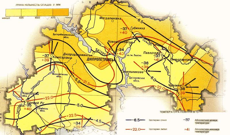 Климатическая карта Днепропетровской области