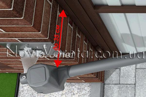 Линейный привод Rotelli на воротах с широкими опорами