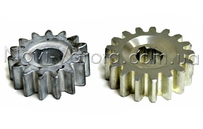 Силуминовая и стальная шестерни