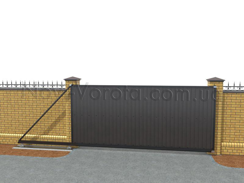 Общий вид откатных ворот консольного типа
