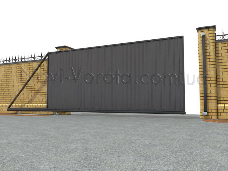 Приоткрытые ворота консольного типа