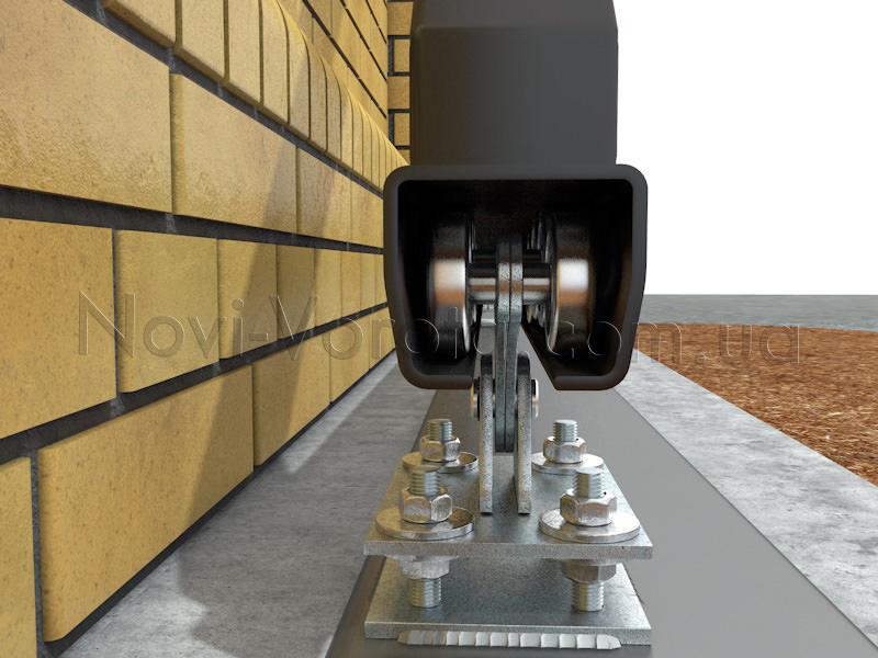 Роликовые опоры внутри направляющего рельса на воротах с калиткой