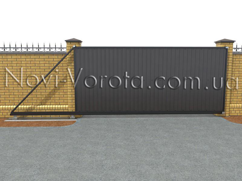 Приоткрытые откатные ворота.