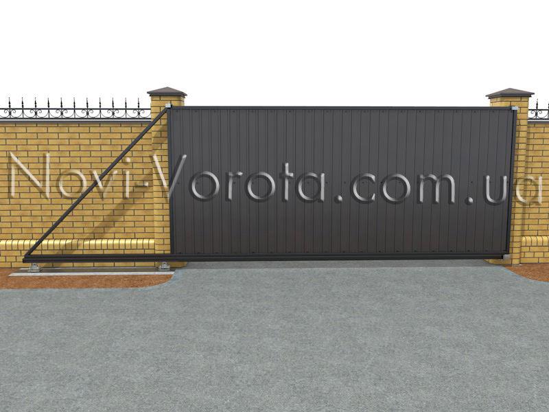 Установленные откатные ворота