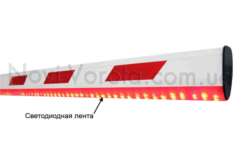 Шлагбаум, оборудованный светодиодной лентой