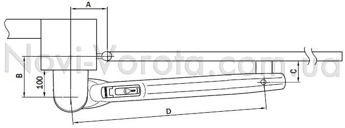 Установочная схема открывания приводов Roger Н20.