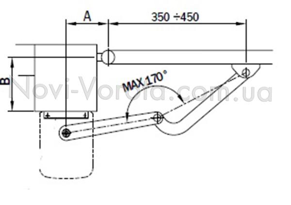 Установочная схема открывания приводов Roger Н23.