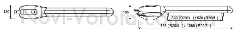 Габаритные размеры приводов серии Roger R20.