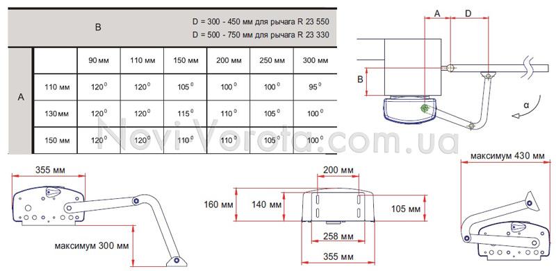 Установочная схема открывания привода Roger R23.