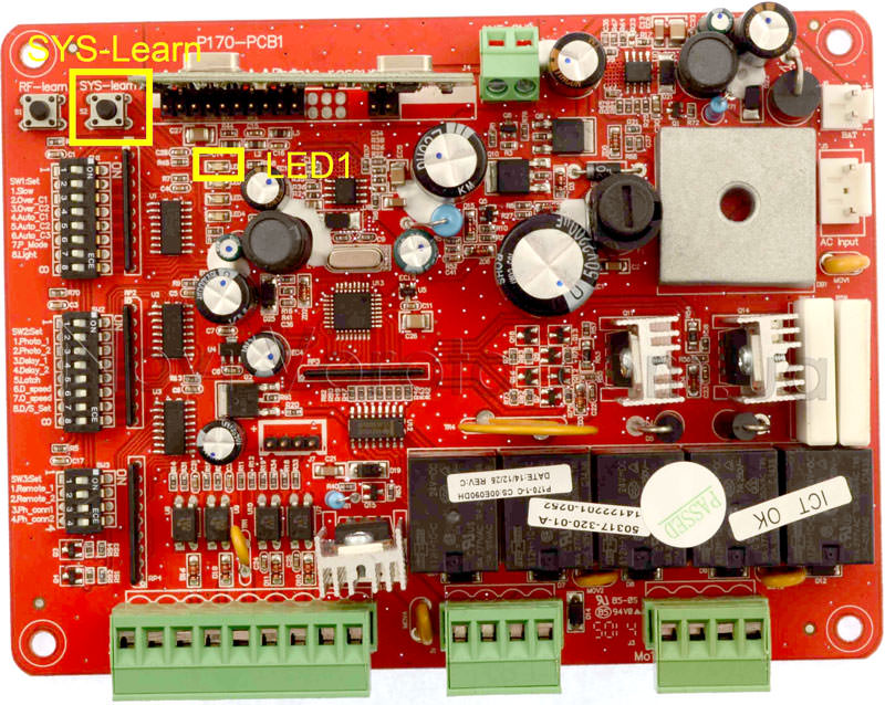 Кнопка «SYS-learn» и светодиод «LED1»