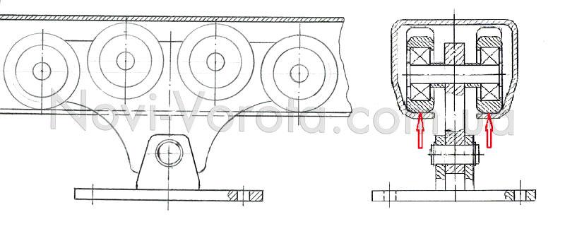 Расположение роликовой опоры в направляющем рельсе