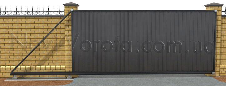 Общий вид на откатные ворота консольного типа