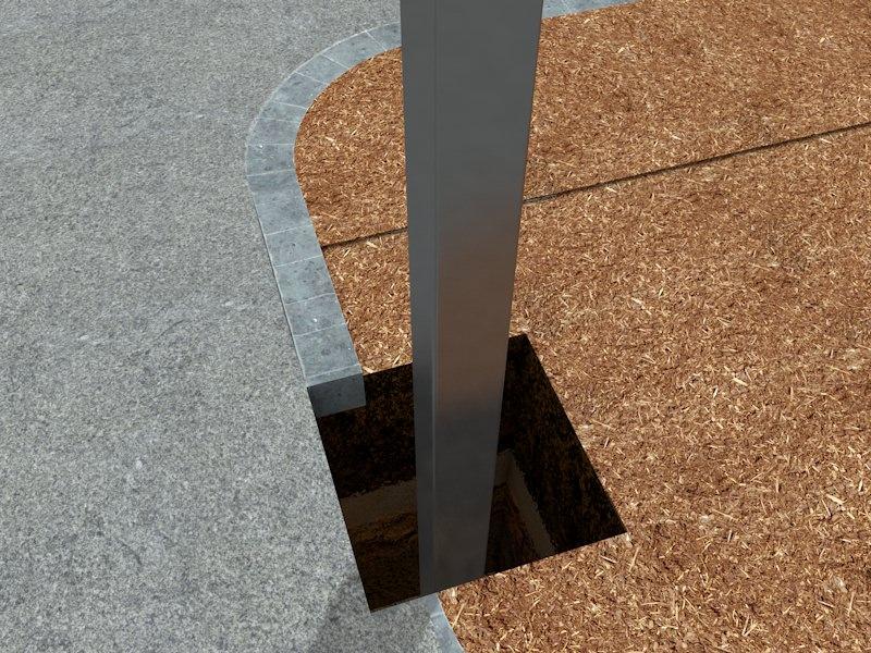 Труба квадратная в приямке для опоры