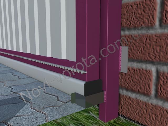 Нижний улавливатель. Откатные ворота - схема, чертеж, устройство, конструкция, расчет, инструкция по монтажу и изготовлению