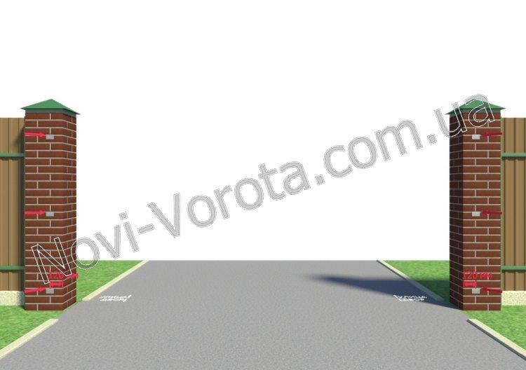 Схема закладных в столбах для раздвижных ворот