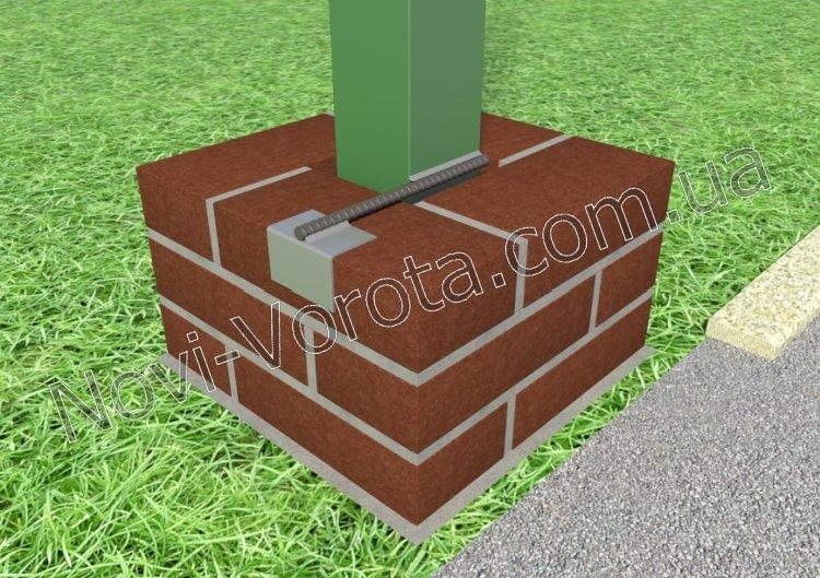 Схема закладной в столбе для откатных ворот